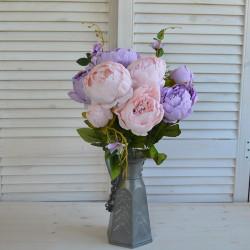 "Цветок искусственный букет ""Пион и гортензия"" цвет неж.роз./сирен. 50см, арт. 4621"