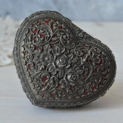 "Шкатулка на ножках форма сердце ""Роза"" серебрение арт.5925/к"
