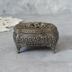 """Шкатулка на ножках """"Ангел и розы"""" серебрение арт.5924/к"""