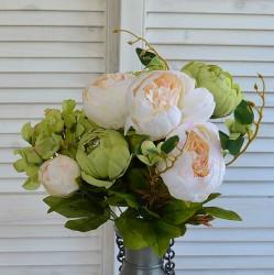 """Цветок искусственный букет """"Пион и гортензия"""" цвет крем../зелен. 50см, арт. 4621"""