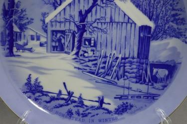 """Тарелка """"Старая усадьба зимой"""" кобальт пейзаж. 21см., арт. 0810"""