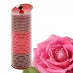 Свеча воск рельефный столбик 13,5см. аромат роза, арт. 0838
