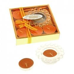 Свечи воск (набор 4 шт+подсвечник), аромат апельсин, арт. 0856