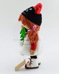 Текстильная кукла ручной работы в шубке и елочкой в руке, ID 3054/1