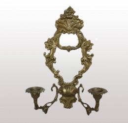 Канделябр на 2 свечи с зеркалом. 28,5*13,4см. арт. 1109