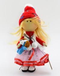 Текстильная кукла ручной работы в шубке и собачкой в руке, ID 3056/1