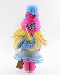 Текстильная кукла ручной работы в кофте и собачкой в руке, ID 3057/1