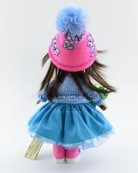 Текстильная кукла ручной работы в кофте и елочкой в руке, ID 3058/1