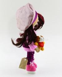 Текстильная кукла ручной работы в берете и собачкой в руке, ID 3059/1