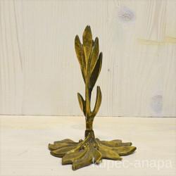 """Подсвечник  на 1 свечу """"Листья""""латунь, арт.1106"""