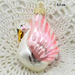 """Елочная игрушка """"Лебедь"""" розовый арт. 1447. ID4307"""