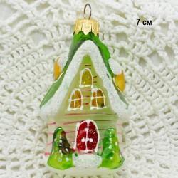 """Елочная игрушка """"Домик ледяной с трубой с красной крышей"""", арт. 5262. ID3839"""