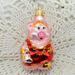 """Елочная игрушка """"Свинка в красном платье"""", арт. 5262 ID3844"""