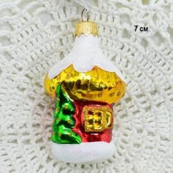 """Елочная игрушка """"Домик с елкой"""" золото, арт. 5262. ID3846"""