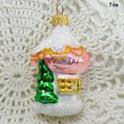 """Елочная игрушка """"Домик с елкой"""" розов., арт. 5262. ID3814"""