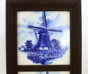 """Панно -  плитка в деревянной раме 3 в 1 """"Голландская мельница"""", арт. 1304"""
