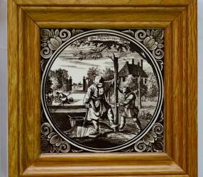 """Панно -  плитка в деревянной дубовой раме 5шт """"Сцены из жизни"""", арт. 1306"""