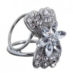 """Кольцо для платка """"Цветок"""" бант белый в серебре., арт. 3449"""