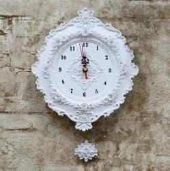 """Часы настенные с маятником """"Лепнина"""" белые, арт. 1370"""