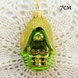 """Елочная игрушка """"Зеленый домик с золотой крышей"""", арт. 1444. ID1992"""