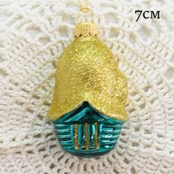 """Елочная игрушка """"Бирюзовый домик с золотой крышей"""", арт. 1444. ID1993"""