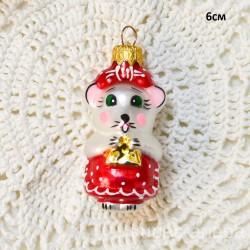 "Елочная игрушка ""Мышка с сыром"" красная, арт. 1447 ID4201"