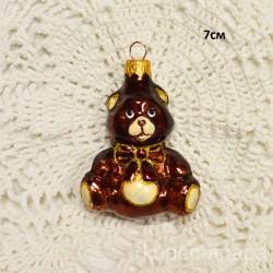 """Елочная игрушка """"Медведь с бантом"""" коричневый, арт. 1447 ID4199"""