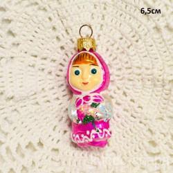 """Елочная игрушка """"Маша из м/ф Маша и Медведь"""" розовая арт. 1447 ID4217"""