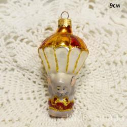 """Елочная игрушка """"Мышонок с парашютом"""" желтый/красный арт. 1447. ID2004"""