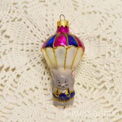 """Елочная игрушка """"Мышонок с парашютом"""" син/роз., арт 5742 ID4184"""