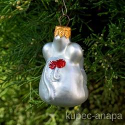 """Елочная игрушка """"Мышка"""" белая арт. 1447 ID4256"""