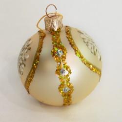 """Елочная игрушка шар """"Кремовый. Снежинка"""" 5,5см., арт.1455 ID1936"""
