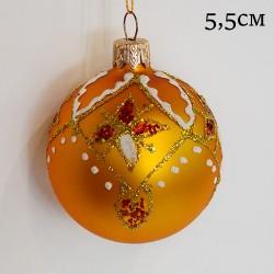 """Елочная игрушка шар """"Золотой. Блестки"""" 5,5см., арт.1455 ID11933"""