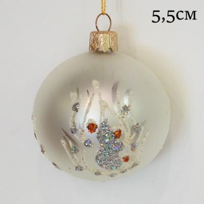 "Елочная игрушка шар ""Белый. Перо и блестки"" 5,5см., ID11934/1455"