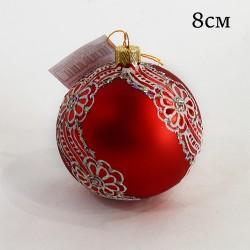 """Елочная игрушка шар """"Цвет красный. Кружево"""" 8см.,арт.5799ID1953"""
