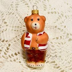 """Елочная игрушка """"Медведь"""" красный арт. 1464 ID4222"""