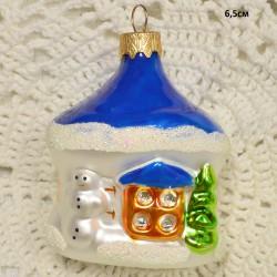 """Елочная игрушка """"Домик"""" синяя крыша арт. 1470 ID4297"""