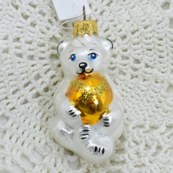 """Елочная игрушка """"Медведь с мячом"""" желтый, арт. 1447 ID3664"""
