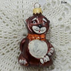 "Елочная игрушка ""Медведь с бабочкой"" бурый 8см, арт. 5854 ID3671"