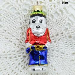 "Елочная игрушка ""Волк Ну Погоди"" серебро, арт. 1447 ID3845"