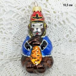 "Елочная игрушка ""Медведь солдат с дубиной"", арт. 1447 ID3848"