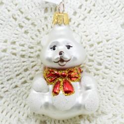 """Елочная игрушка """"Медведь с бантом"""" белый, арт. 1447 ID3646"""