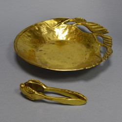 Блюдо орешница с орехоколом латунь, арт. 1534