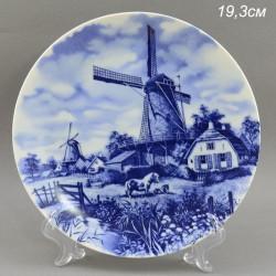 """Тарелка """"Мельница. Голландский пейзаж"""" кобальт. 19.3см., арт. 1566"""