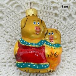 "Елочная игрушка символ года 2019 ""Свинка с поросенком"", арт. 5306 ID3852"