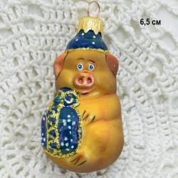"""Елочная игрушка символ года 2019 """"Поросенок с подарком"""" синий, арт. 5306 ID3853"""