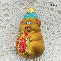 """Елочная игрушка символ года 2019 """"Поросенок с подарком"""" красный, арт. 5306 ID3854"""