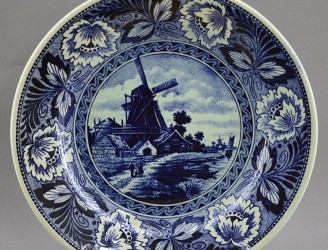 """Тарелка """"Мельница. Голландский пейзаж"""" кобальт. 23,5см., арт. 1640/2"""