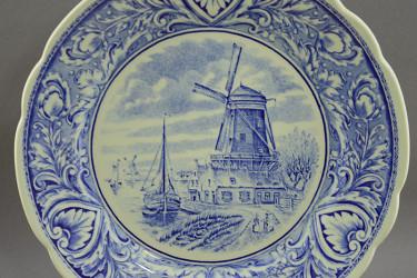 """Тарелка """"Мельница. Голландский пейзаж"""" кобальт. 25,5см., арт. 1640/1"""