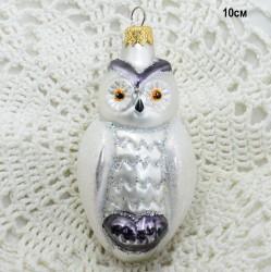 "Елочная игрушка ""Сова"" белая, арт. 1470 ID3692"